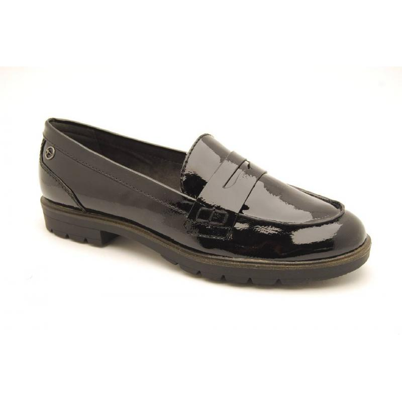 TAMARIS svart lack loafer